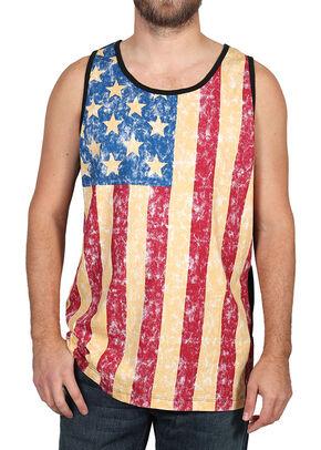 Cody James Men's Distressed American Flag Tank, Red, hi-res