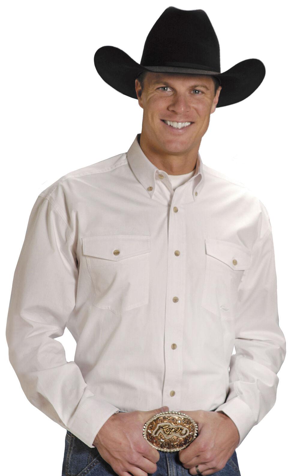 Roper Poplin Western Shirt - Big & Tall, White, hi-res