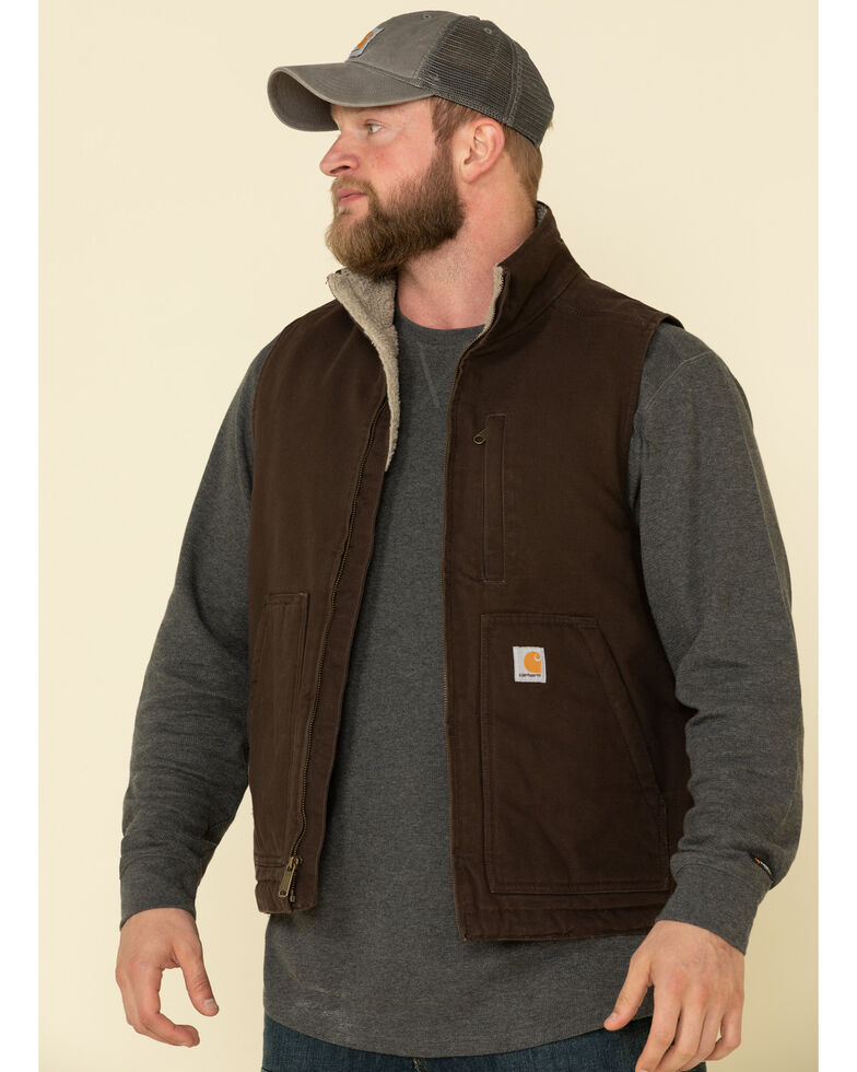 Carhartt Men's Dark Brown Washed Duck Sherpa Lined Mock Neck Work Vest , Dark Brown, hi-res