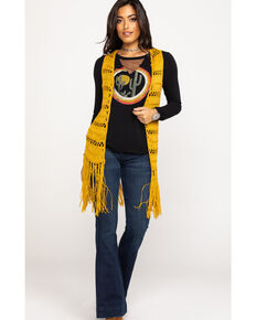 Rock & Roll Cowgirl Women's Mustard Crochet Fringe Vest, Dark Yellow, hi-res