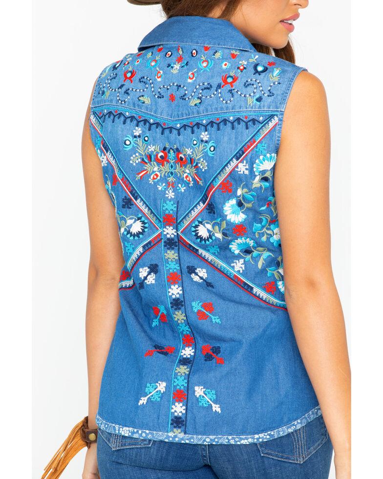 Tasha Polizzi Women's Independence Embroidered Denim Sleeveless Shirt, Indigo, hi-res