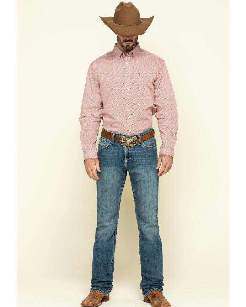 Cinch Men's Modern Fit Orange Small Geo Print Long Sleeve Western Shirt , Orange, hi-res