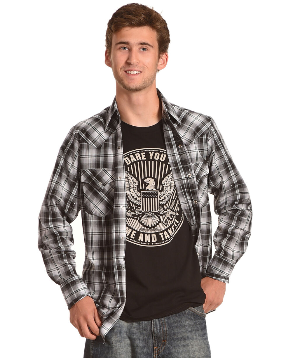 Ely Cattleman Men's Plaid Long Sleeve Western Snap Shirt, Black, hi-res