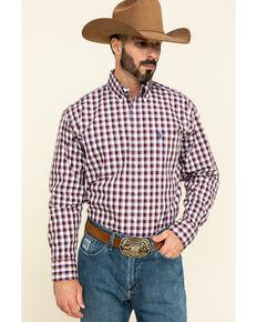 George Strait by Wrangler Men's Burgundy Small Plaid Button Long Sleeve Western Shirt - Big, Burgundy, hi-res