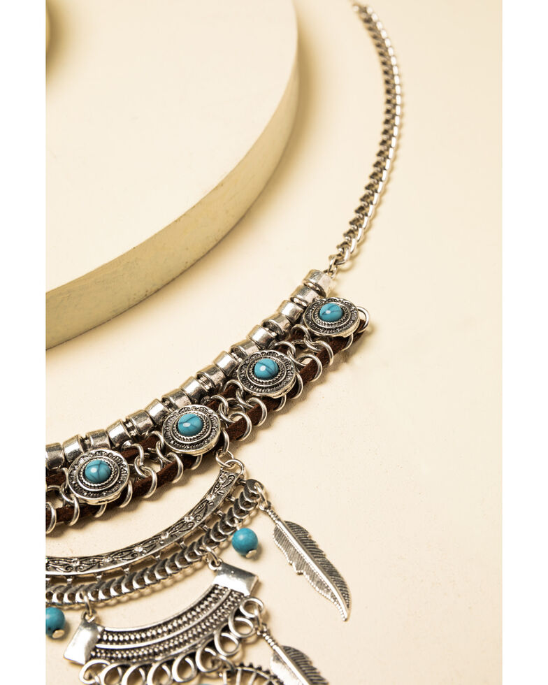 Shyanne Women's Summer Nights Feather Chandelier Bib Necklace, Silver, hi-res
