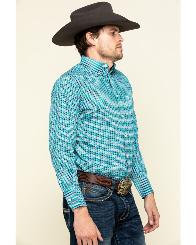 Wrangler 20X Men's Competition Teal Circle Geo Print Long Sleeve Western Shirt , Teal, hi-res