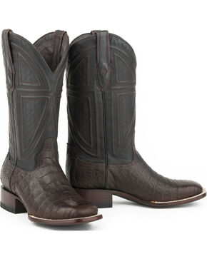Stetson Men's Black Caiman Belly Vamp Western Boots - Square Toe , Tan, hi-res