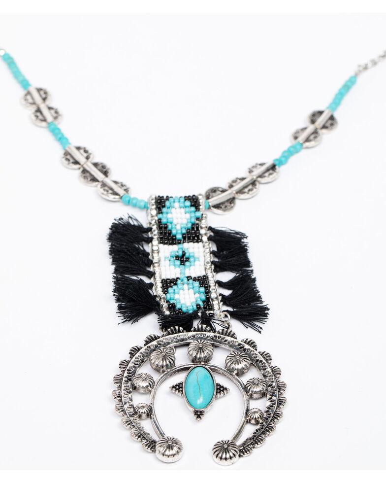 Shyanne Women's Isla Jane Peyote Tassel Squash Blossom Necklace, Silver, hi-res