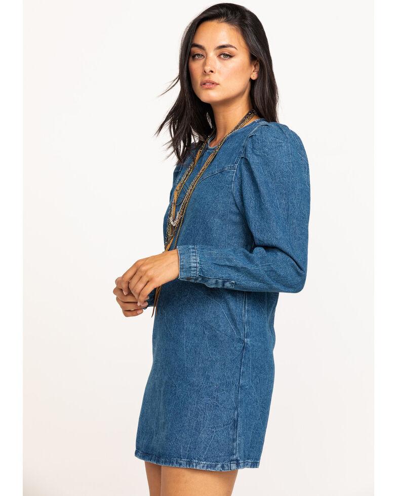 Free People Women's Denim Self Control Mini Dress, Blue, hi-res