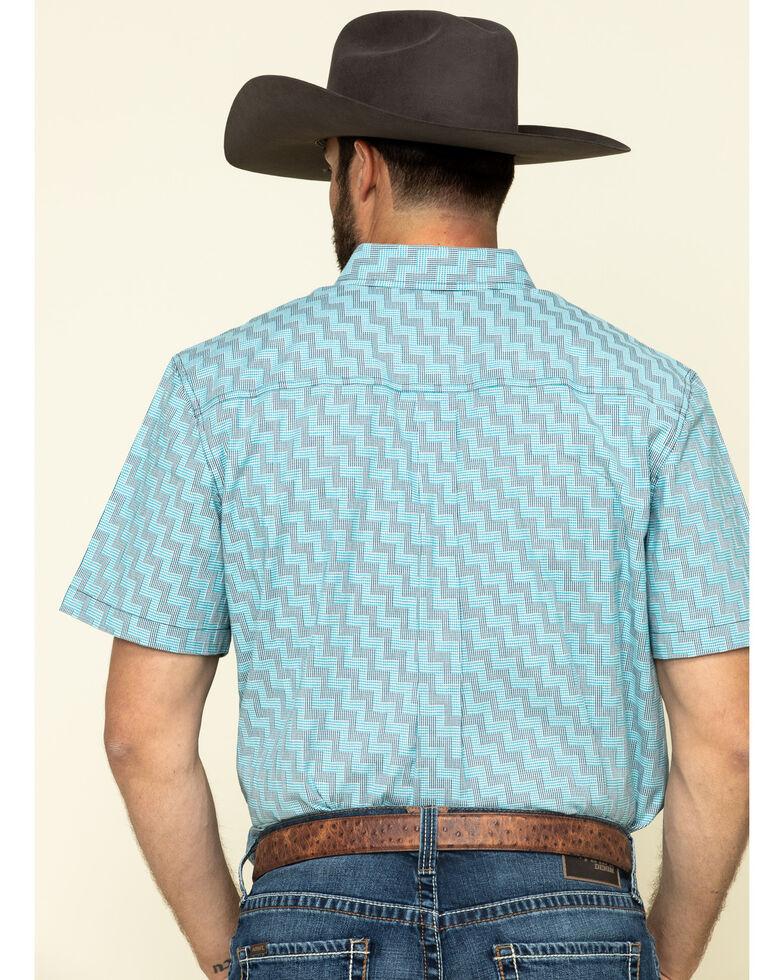 Cody James Core Men's Rodeo Clown Geo Print Short Sleeve Western Shirt , Blue, hi-res