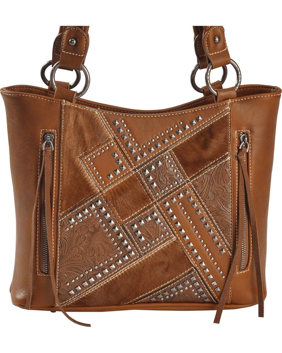 Shyanne Women's Tooled Hair-On Calf Patchwork Concealed Handgun Tote Bag, Brown, hi-res