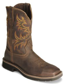 Justin Men's Stampede Driller EH Waterproof Work Boots - Steel Toe, Tan, hi-res