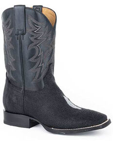 Roper Men's All In Stingray Western Boots - Square Toe, Black, hi-res