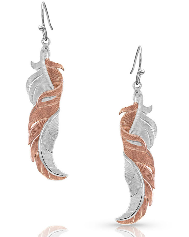 Montana Silversmiths Women's Twisted Rose Feather Earrings, Silver, hi-res