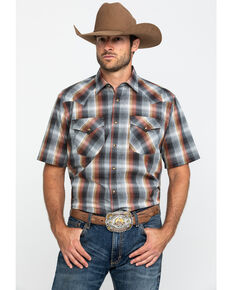 Pendleton Men's Grey Frontier Plaid Short Sleeve Western Shirt , Grey, hi-res