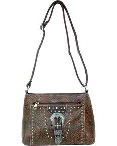 Savana Women's Tooled Embellished Crossbody Bag, Tan, hi-res