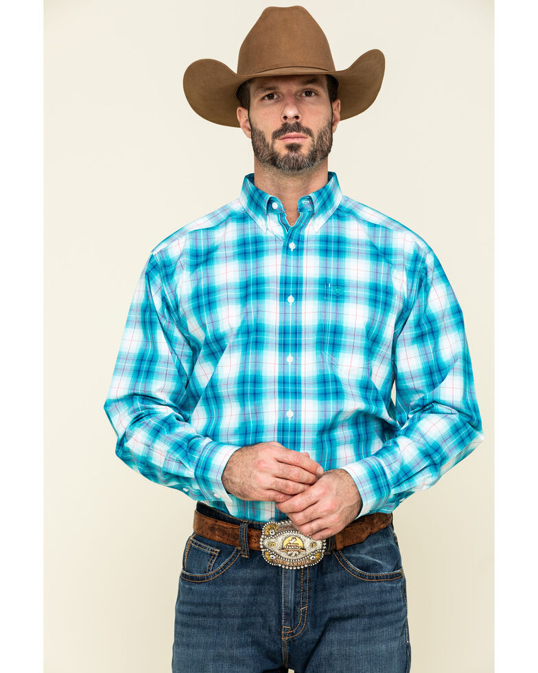 Ariat Men's Somerton Plaid Long Sleeve Western Shirt - Tall , Blue, hi-res