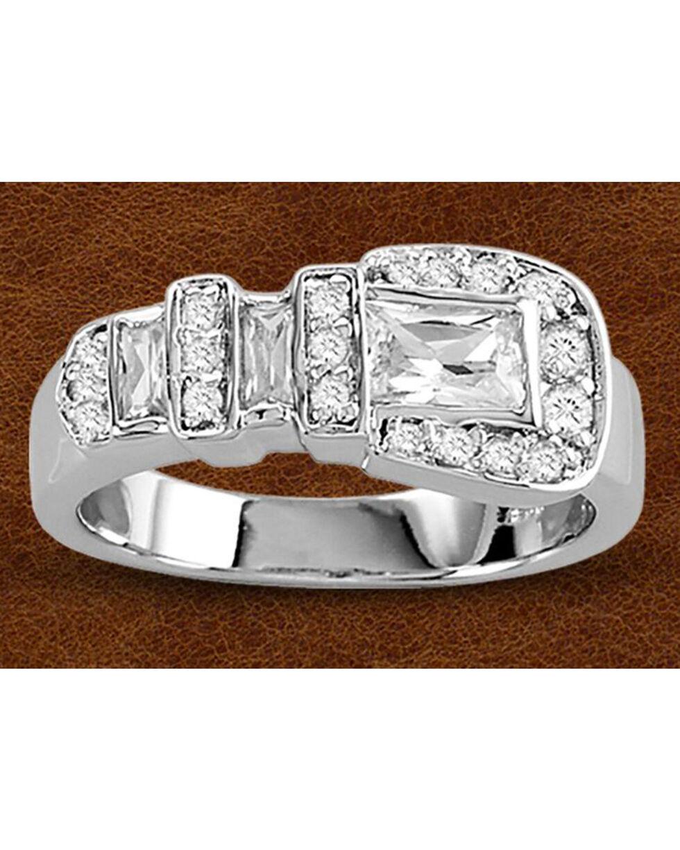 Kelly Herd Sterling Silver Large Rhinestone Buckle Ring, Silver, hi-res
