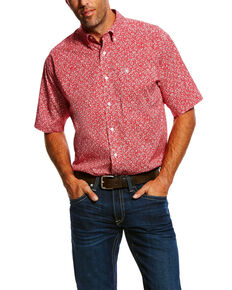 Ariat Men's Oferrell Stretch Print Short Sleeve Western Shirt , Red, hi-res