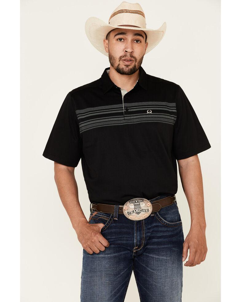 Cinch Men's Arena Flex Black Striped Short Sleeve Polo Shirt , Black, hi-res