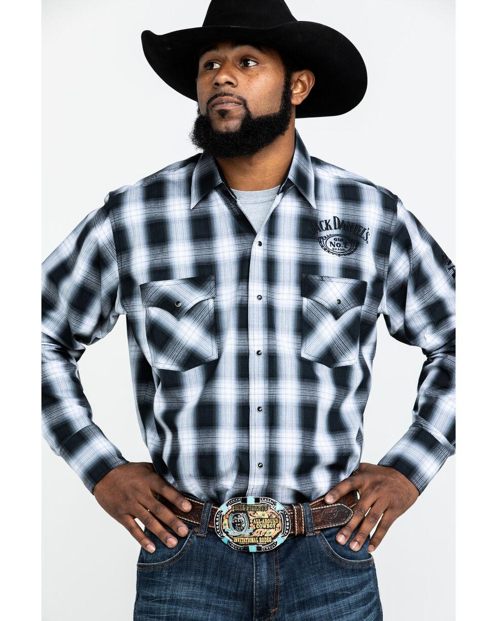 Jack Daniel's Men's Textured Plaid Embroidered Long Sleeve Western Shirt , Black, hi-res