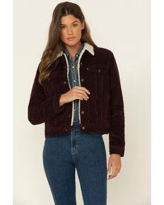 Levi's Women's Dark Burgundy Cord Sherpa Trucker Jacket, Burgundy, hi-res