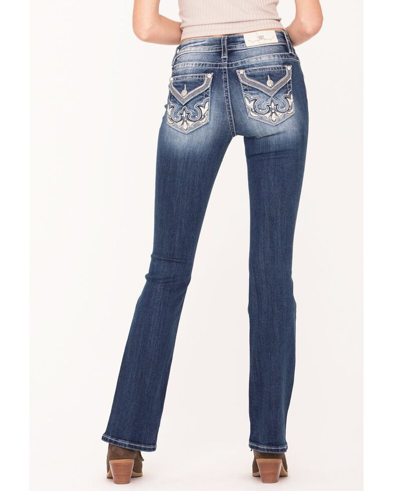 "Miss Me Women's 30"" Inseam Leather Patch Chloe Bootcut Jeans , Blue, hi-res"