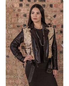 STS Ranchwear Women's Brown Cow Print Leather Jacket, Brown, hi-res