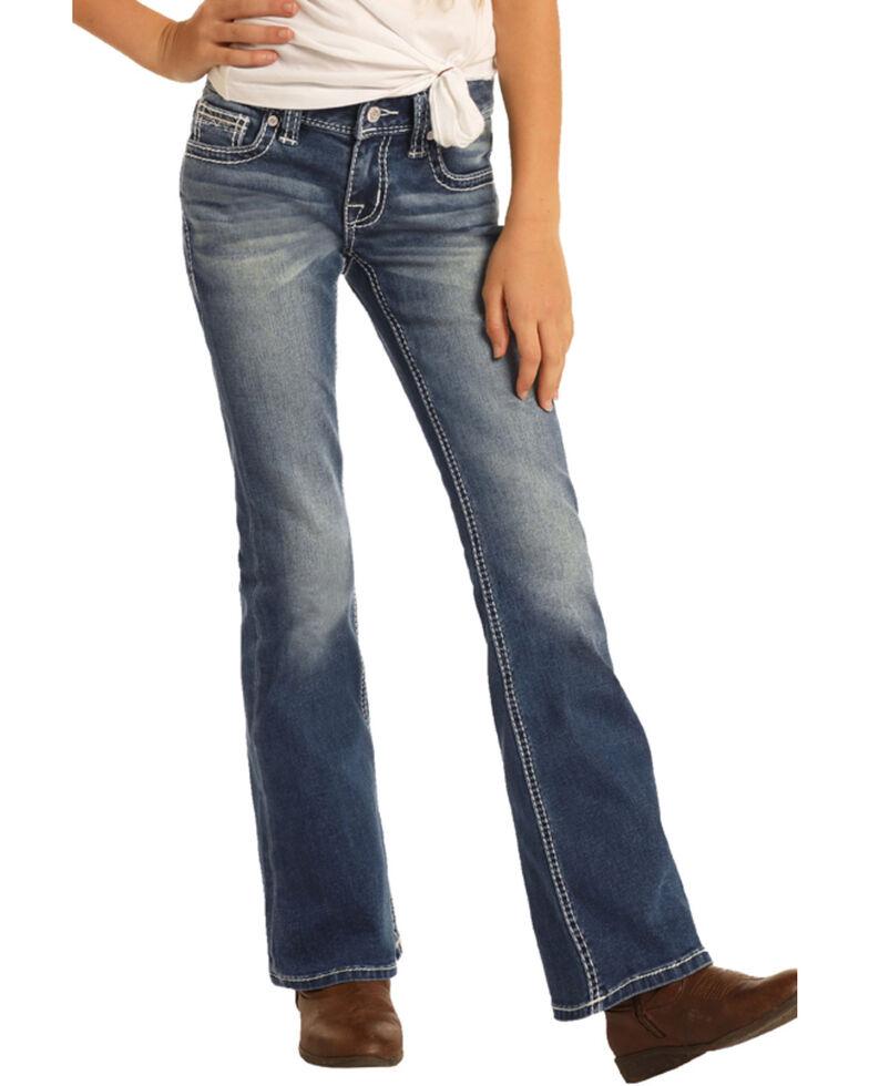 Rock & Roll Denim Girls' Medium Vintage Scroll Bootcut Jeans , Blue, hi-res