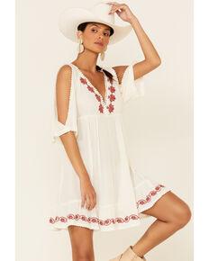 Beyond The Radar Women's Embroidered Cold Shoulder Dress, Ivory, hi-res