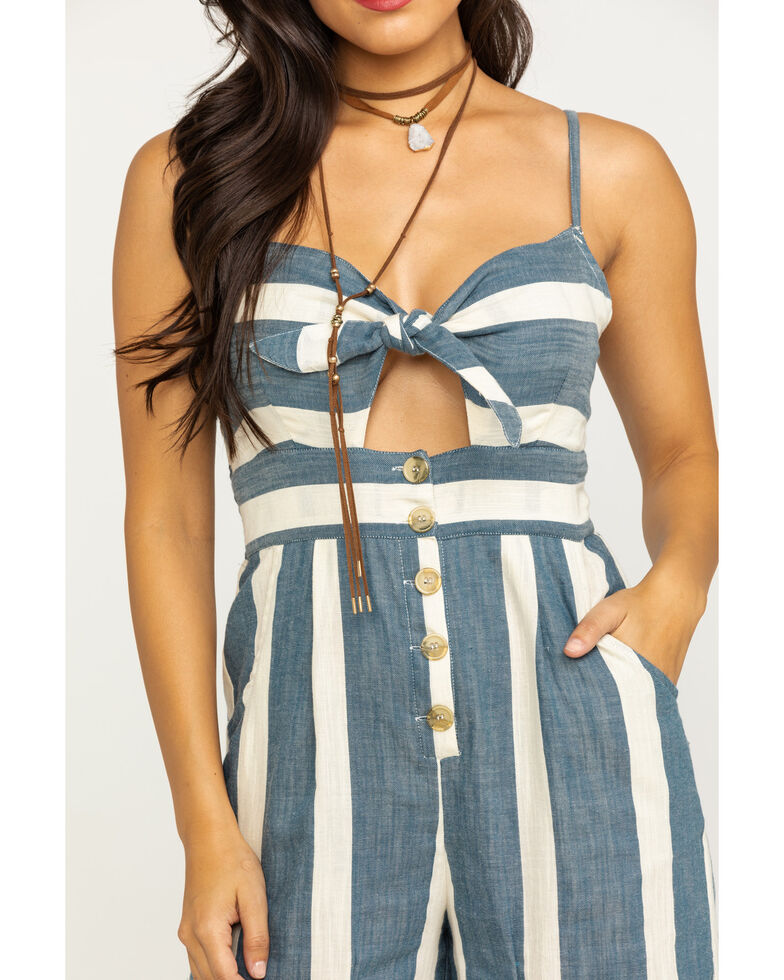 Angie Women's Blue & White Stripe Bow Front Jumpsuit, Blue, hi-res