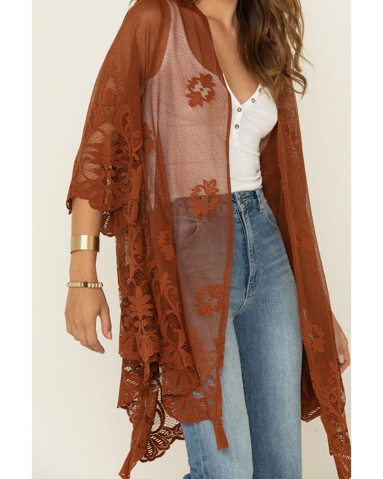 Eyeshadow Women's Rust Copper Lace Mesh Kimono, Rust Copper, hi-res