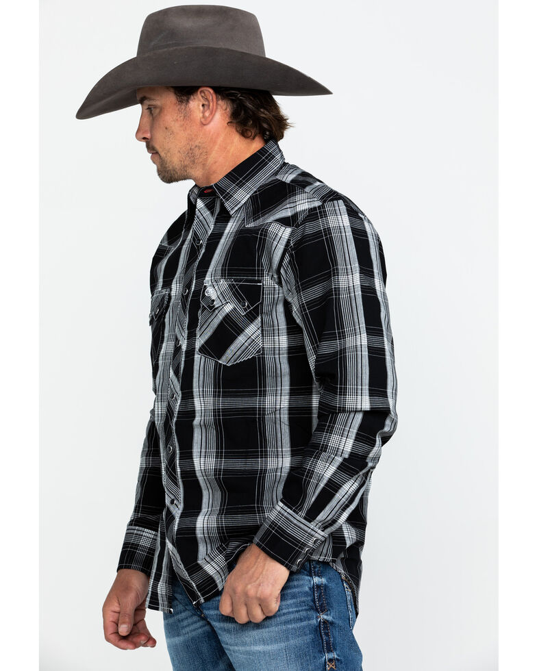 Wrangler Retro Men's Black Large Plaid Long Sleeve Western Shirt , Black, hi-res