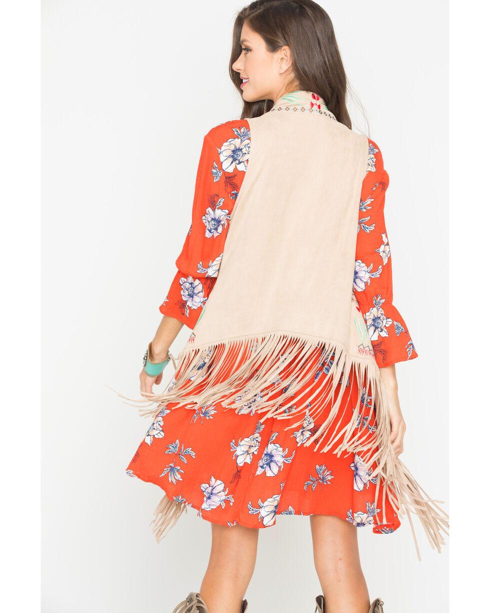 Tasha Polizzi Women's Faux Suede Embroidered Wampum Vest, Sand, hi-res