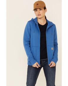 Carhartt Women's Medium Blue Clarksburg Full-Zip Hooded Work Sweatshirt  , Medium Blue, hi-res