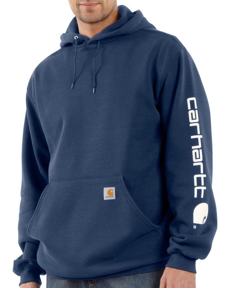 Carhartt Logo Hooded Sweatshirt, Navy, hi-res