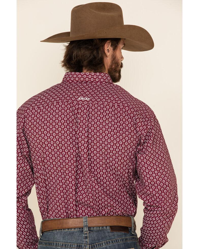 Ariat Men's Rhodes Small Circle Geo Print Long Sleeve Western Shirt , Burgundy, hi-res