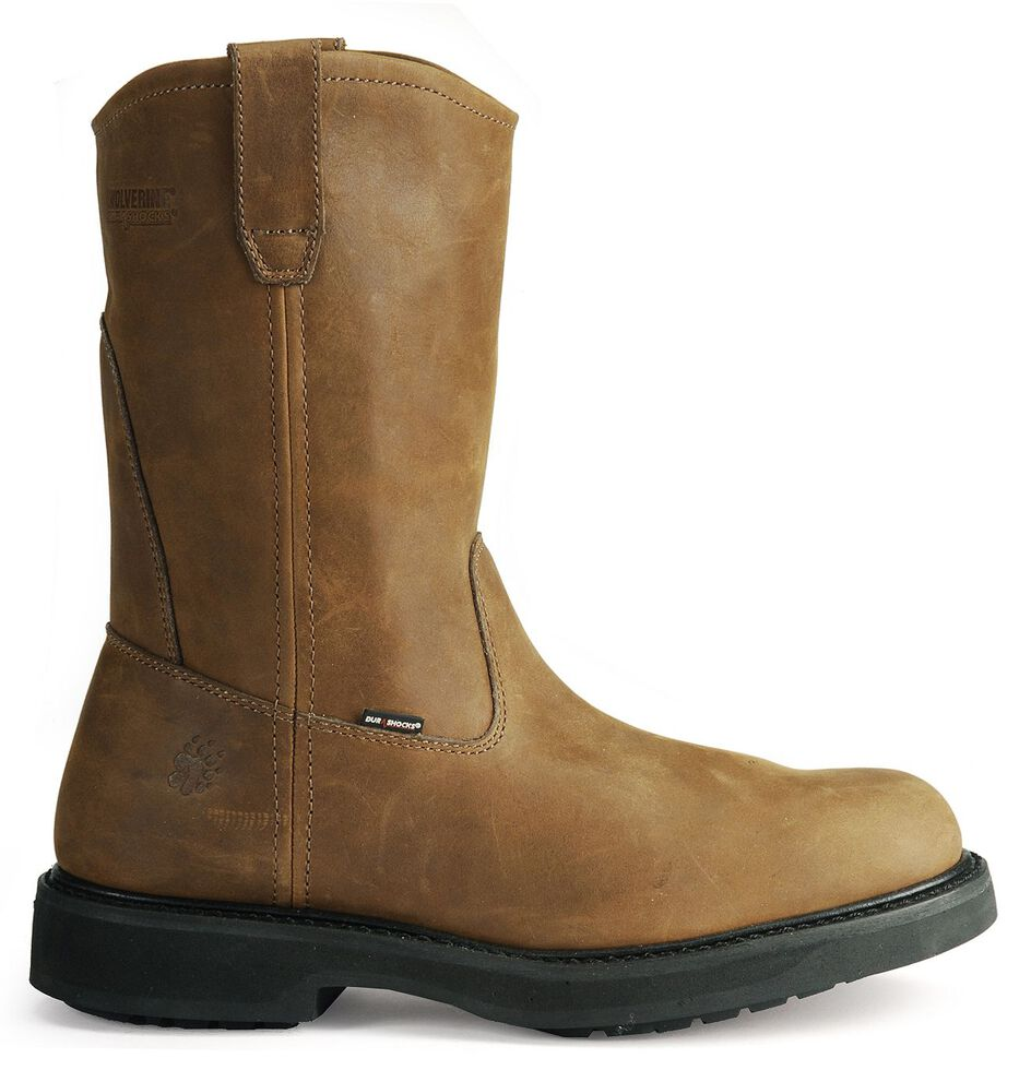 Wolverine Ingham DuraShocks Wellington Work Boots - Round Toe, Dark Brown, hi-res