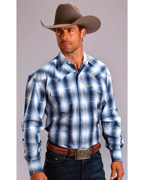 Stetson Men's Blue Dove Ombre Long Sleeve Snap Shirt, Blue, hi-res