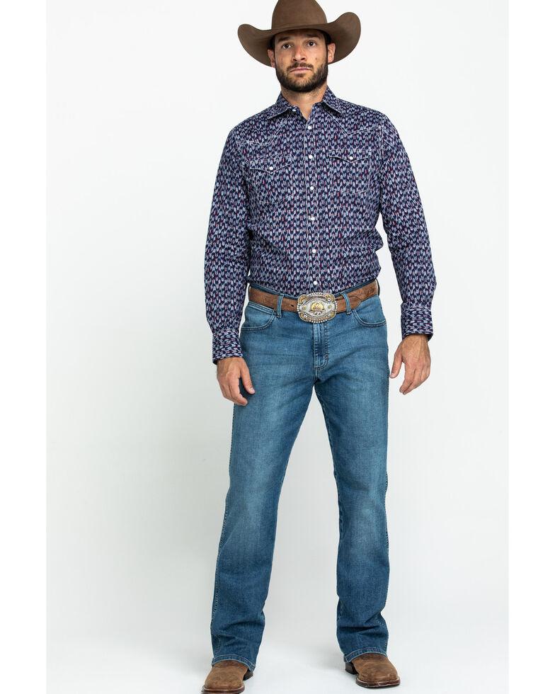 Wrangler Retro Premium Men's Blue Geo Print Long Sleeve Western Shirt , Blue, hi-res
