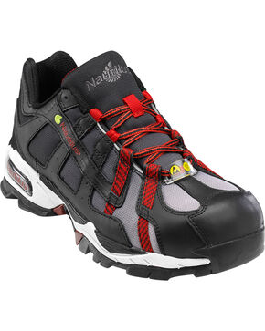 Nautilus Men's Black and Red Athletic Work Shoes - Alloy Toe , Black, hi-res
