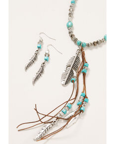 Shyanne Women's Shimmer Concho Feather Tassel Beaded Set, Silver, hi-res