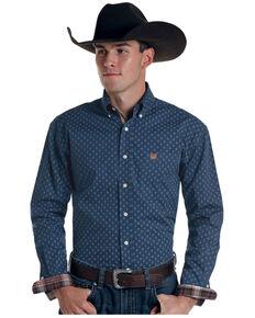 Rough Stock By Panhandle Men's Borrego Aztec Geo Print Long Sleeve Button-Down Western Shirt , Blue, hi-res