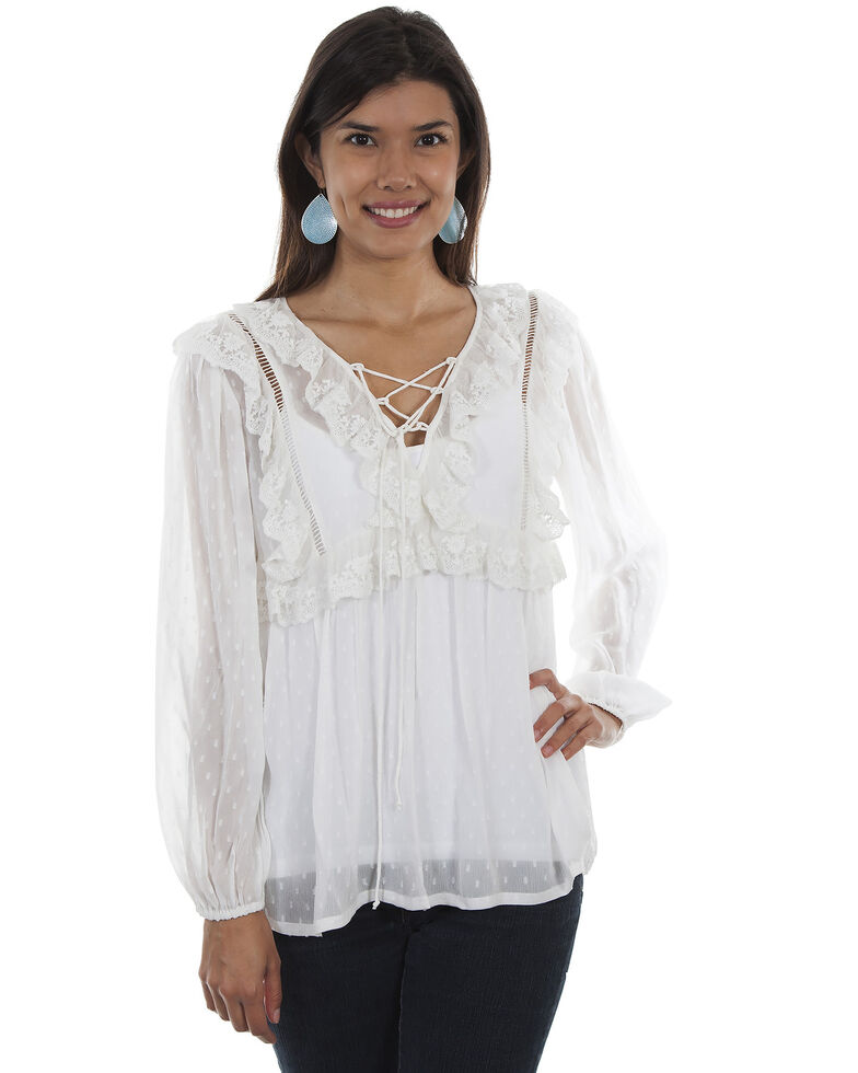 Honey Creek by Scully Women's Ivory Swiss Dot Ruffle Blouse , Ivory, hi-res