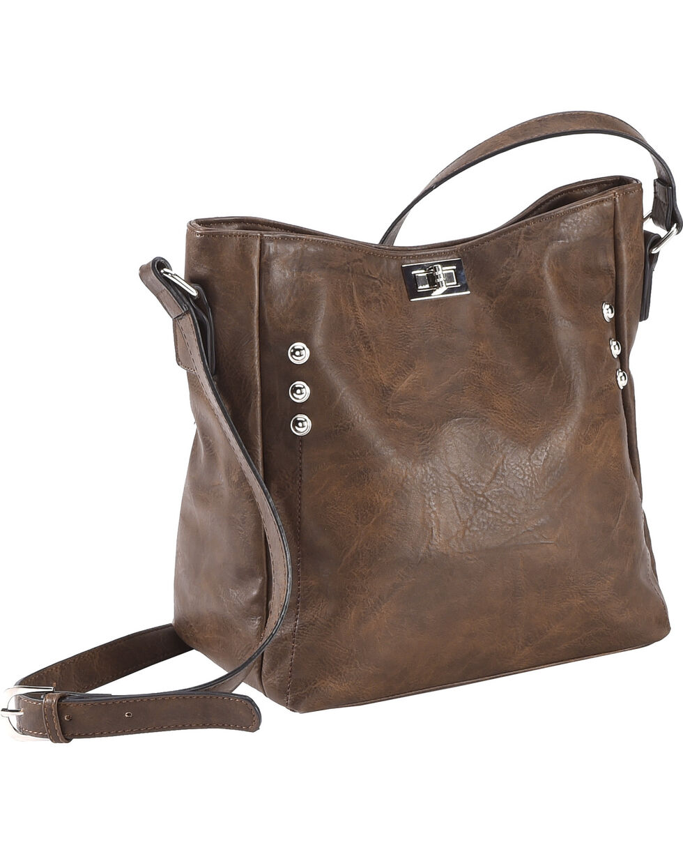 Wear N.E. Wear Women's Double Zipper Concealed Carry Handbag, Brown, hi-res