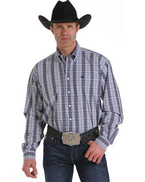 Cinch Men's White Plain Weave Long Sleeve Shirt, White, hi-res