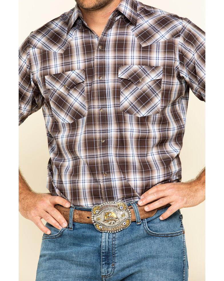Ely Cattleman Men's Brown Textured Plaid Short Sleeve Western Shirt - Big , Brown, hi-res