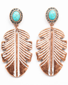 Shyanne Women's Wanderlust Large Copper Feather Earrings, Tan/copper, hi-res