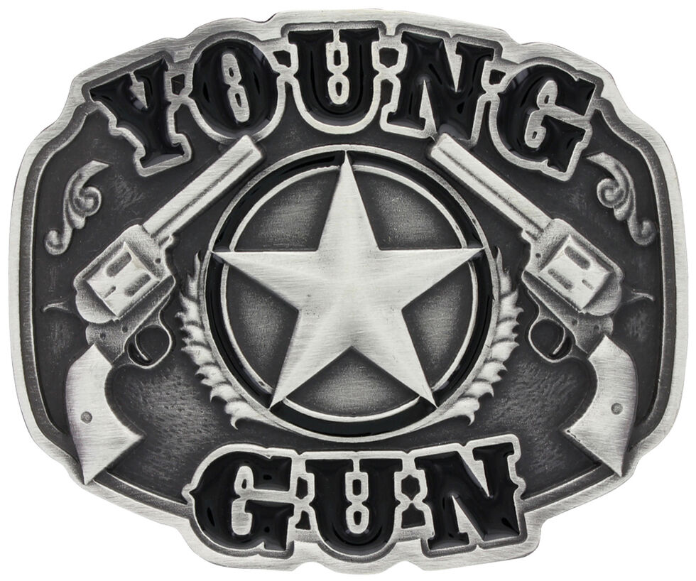 Montana Silversmiths Little Attitude Young Gun Belt Buckle, Silver, hi-res