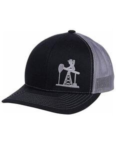 Oil Field Hats Men's Black & Charcoal PJ Cowboy Diesel Mesh-Back Trucker Cap , Black, hi-res